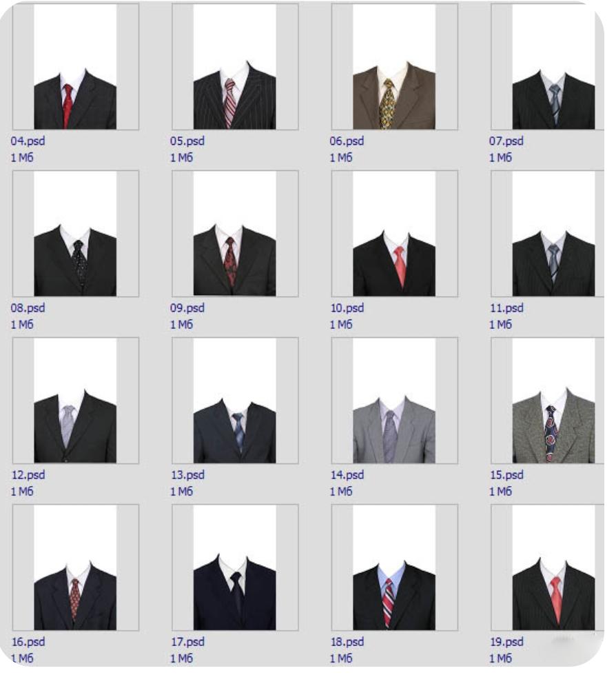 psd源码-男女证件照服装模板